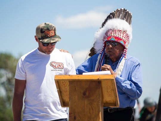 Blackfeet Nation Chief, Earl Old Person, gives Pearl