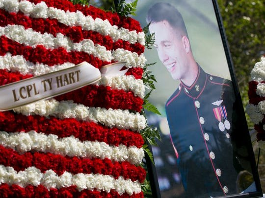 Lance Cpl. Ty Hart was laid to rest on his family's property in Aumsville on Sunday, April 17, 2016. Hart was one of 12 Marines who died Jan. 14 when two military helicopters collided during training exercises in Hawaii.