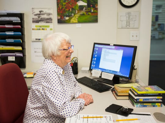 Marie McCarty has been a volunteer at the Keizer Community Library for 17 years, ever since the library opened in 1999. She almost stopped volunteering a few years ago when they began using an electronic cataloging system, but says other volunteers talked her out of it and helped her learn how to use the computer. She's now both the oldest and longest serving volunteer at the library.