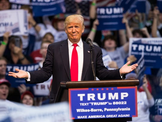 Republican presidential candidate, Donald Trump speaks at a campaign rally Monday, April 25, 2016, in Wilkes-Barre, Pa.