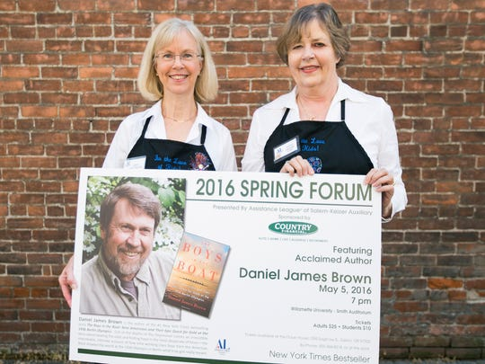 Assistance League Auxiliary members Sandy Whittington (left) and Kathy Graham (right) were excited about the Spring Forum event featuring author Daniel James Brown.