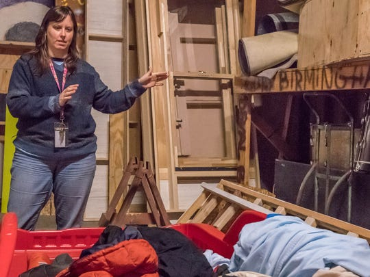 Lakeview Middle School theater program director Deanna Flora says the school's auditorium's storage room does not have enough room to store and build props and sets.
