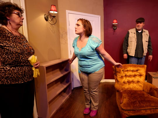 "Darlene Delaney, as Lydia Lawson, from left, Stephanie Bednarz, as Olivia Keegan, and Richard Leppig, as Wyatt Lawson, rehearse ""Things My Mother Taught Me"" at the Aumsville Community Theatre in Stayton on Thursday, April 28, 2016. The play runs May 6 - 22."