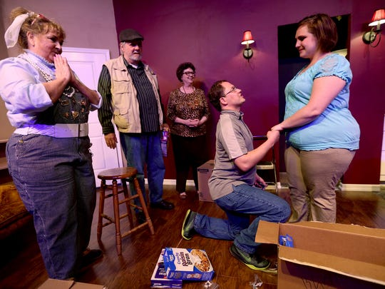 "Terri Swanson, as Max, from left, Richard Leppig, as Wyatt Lawson, Darlene Delaney, as Lydia Lawson, Jason Miles, as Gabe Lawson, and Stephanie Bednarz, as Olivia Keegan, rehearse ""Things My Mother Taught Me"" at the Aumsville Community Theatre in Stayton on Thursday, April 28, 2016. The play runs May 6 - 22."