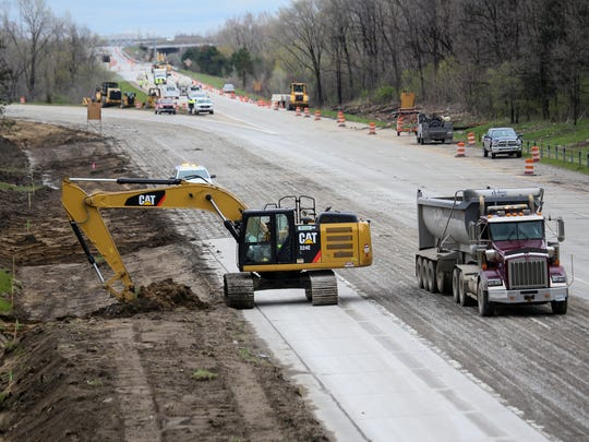 Construction continues along the southbound lanes of