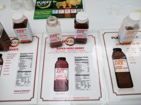 Purify Juice Company samples on display at the Vermont Retail & Grocers Association Convention & Expo at the Hilton in Burlington on Friday, April 29 2016.