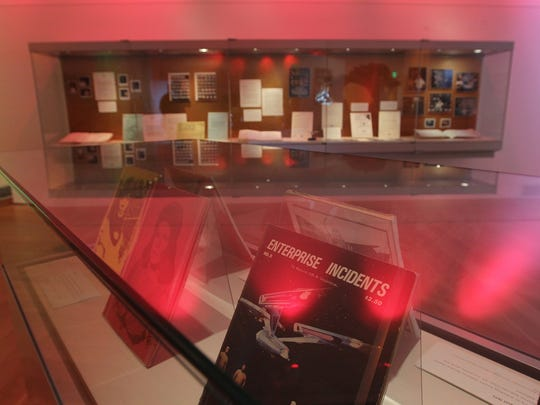 Star Trek memorabilia is pictured at the University of Iowa Main Library's special exhibit on Wednesday, May 4, 2016.