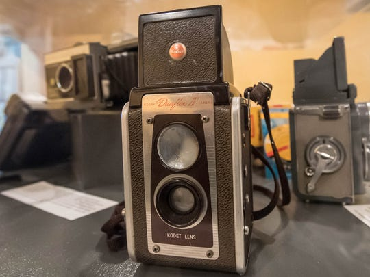 A Kodak Duraflex IV is one of the many cameras on display at Kingman Museum's photography exhibit.