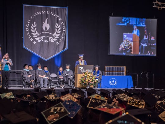 Dakota H. Glassburn gives a commencement speech at the 2015 Kellogg Community College commencement ceremony.