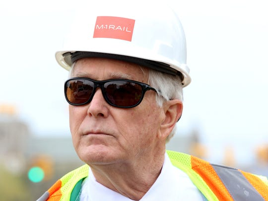 M1-Rail COO Paul Childs, during a tour of the work in progress along Woodward Ave. in Detroit for the new street car rail system to be known as the QLINE, Tuesday, May 10, 2016