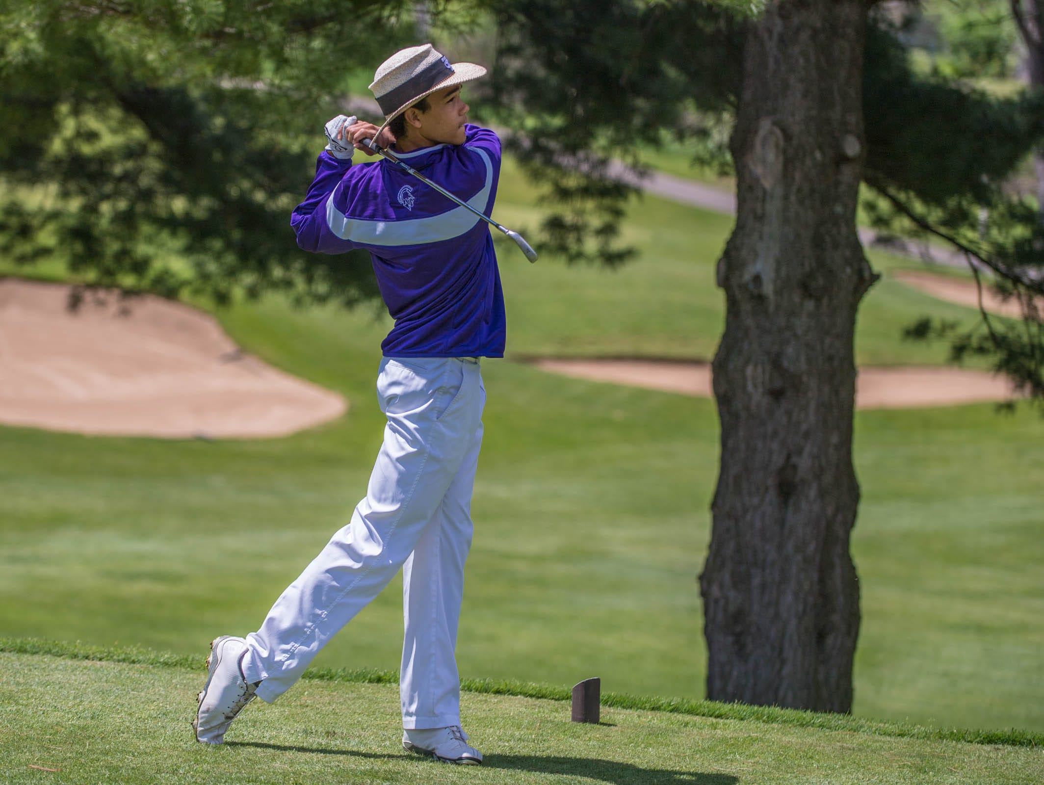Lakeview's Andrew Walker hits his drive during All-City Golf Tournament at Riverside Golf Club on Friday.