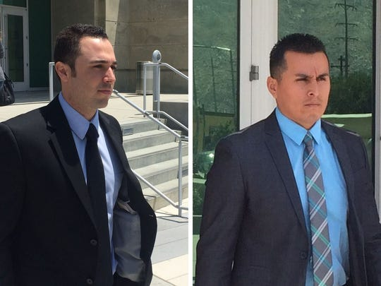 Charles Holloway, left, and Gerardo Martinez leave the courthouse in Banning during the first day of trial, May 16, 2016.