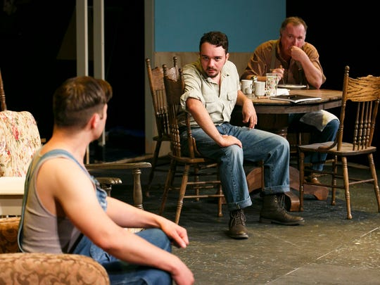 "Matthew Morris as Jimmy, from left, Jordan Mackor as Noah and Walt Haight as H.C. rehearse a scene from ""The Rainmaker""  at Pentacle Theatre. The play, written by N. Richard Nash, runs May 27 through June 18 and is directed by Jo Dodge."