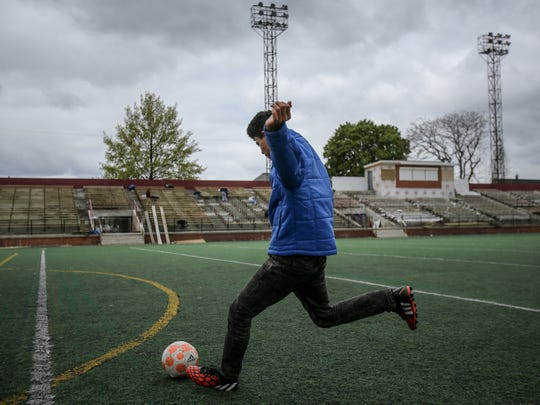 Zayd Almadrahi, 14, of Hamtrack practices soccer at Keyworth Stadium, the new home of the Detroit City Football Club in Hamtramck, Mich. photographed on Sunday, May 15, 2016.