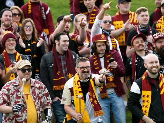 Detroit City FC fans cheer for their team as they play the Michigan Bucks on Wednesday, May 11, 2016, at Oakland University in Auburn Hills during the U.S. Open Cup.