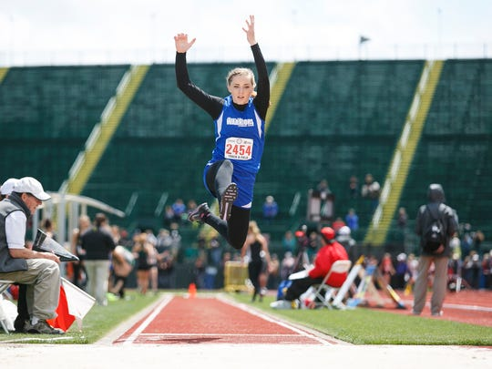 Willamette Valley junior Sarah Falardeau in the girls long jump at the OSAA Track and Field State Championships at Hayward Field in Eugene on Thursday, May 19, 2016. Falardeau won the OSAA Class 1A state championship in the long jump.