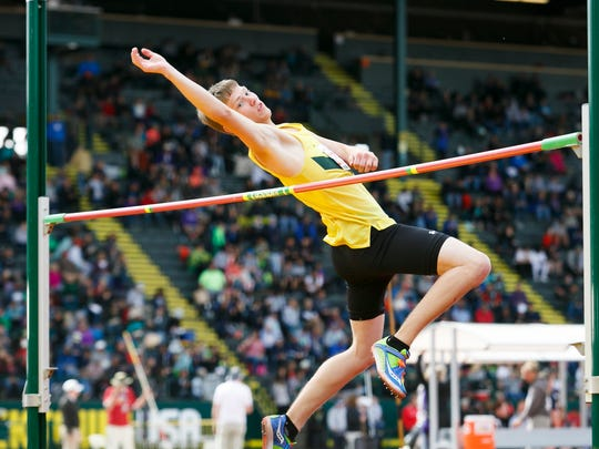 Regis's Josh Mumey competes in the high jump at the OSAA Track and Field State Championships at Hayward Field in Eugene on Friday, May 20, 2016.