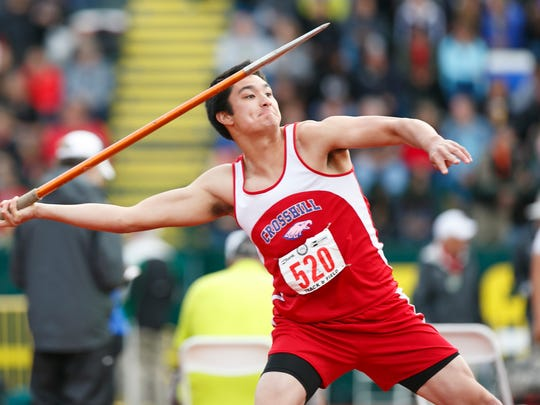 Crosshill's Matthew Gille throws the javelin at the OSAA Track and Field State Championships at Hayward Field in Eugene on Friday, May 20, 2016.