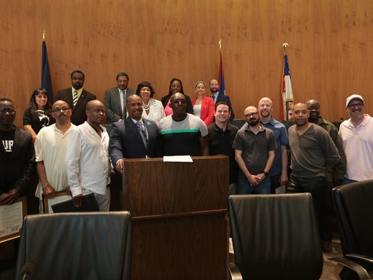 Techno artists John Collins, Eddie Fowlkes, Juan Atkins, Kevin Saunderson and Carl Craig were joined by members of the Paxahau team as Detroit City Council honored the Movement festival on Tuesday.