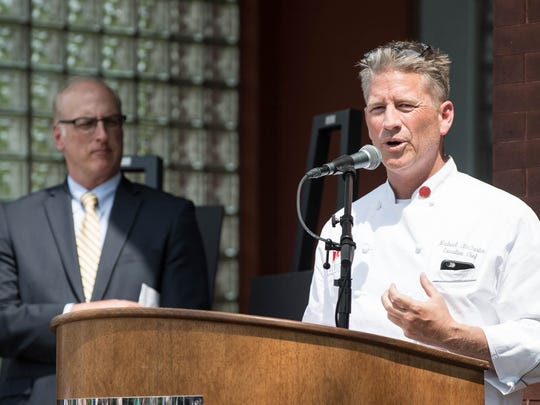 FireKeepers Executive Chief Michael McFarlen at the announcement of the new restaurant, bakery and food pantry called the Hub at the old fire station at 175 S. Kendall on Wednesday.