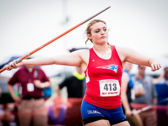 New Oxford's Madi Smith throws in the Class AAA girls' javelin during the PIAA track and field championships at Shippensburg University on Saturday.
