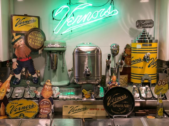 Multiple Vernors Ginger Ale memorabilia line a soda fountain station as part of the collection of Vernors items by Keith Wunderlich of Troy,  seen at his home on Tuesday May 31, 2016. Wunderlich's collection ranges from signs, gnomes, bottles and vending machines among other items tracing some of the history of the oldest continuously produced soda pop in the United States.