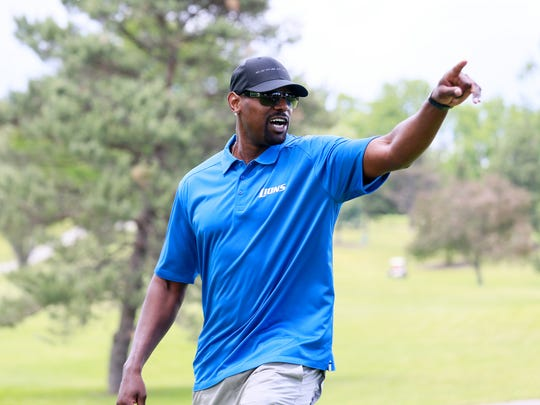 """Former Detroit Lions wide receiver Herman Moore attends the """"Have a Heart Save a Life"""" celebrity golf outing organized by the Charlie Sanders Foundation at Knollwood Country Club in West Bloomfield, Mich. on Monday, June 6, 2016."""