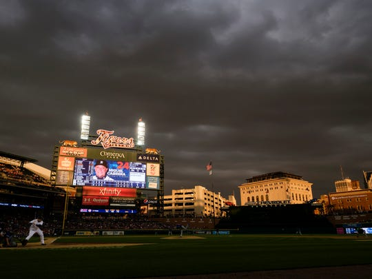 Jun 6, 2016; Detroit, MI, USA; General view as Detroit Tigers first baseman Miguel Cabrera (24) bats in the fifth inning against the Toronto Blue Jays at Comerica Park.