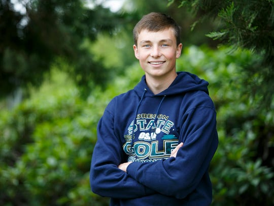 Mid Valley Sports Award nominee Andrew Eyre stands for a portrait at West Salem High School on Monday, May 23, 2016.