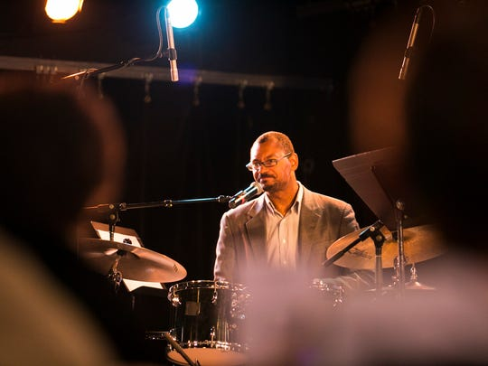 Jason Marsalis of Marcus Roberts Trio demonstrates drum techniques during a Junior Jazz matinee show for Burlington Discover Jazz Festival on Friday, June 10 2016 at FlynnSpace in Burlington, Vermont.