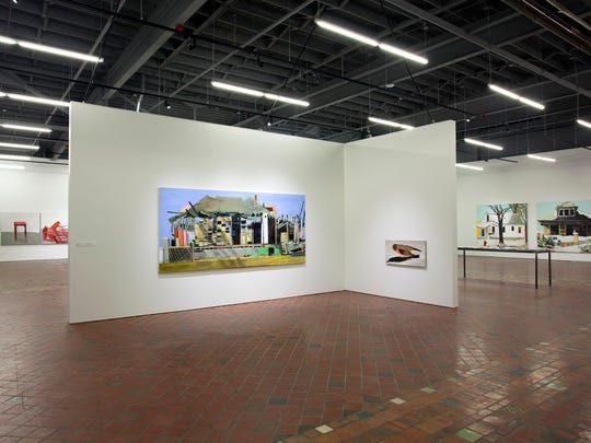 "The 2016 paintings ""Big Burn"" and ""The Robin"" are part of ""Nancy Mitchnick: Uncalibrated"" at the Museum of Contemporary Art Detroit."