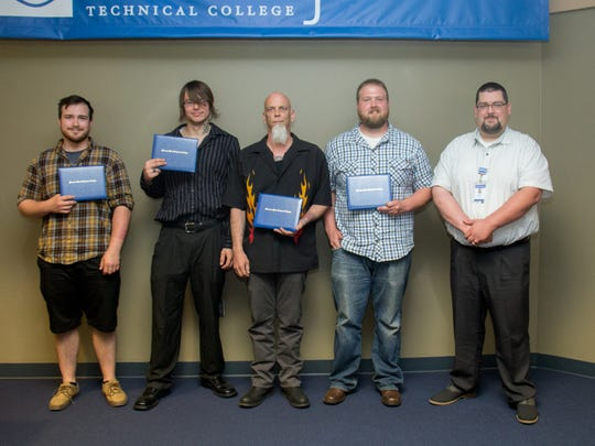Graduating from Moraine Park Technical College's welding boot camp on Thursday, June 9 were Samuel Schreiber, Ian Hafert, Christopher Regan, Halden Lulloff and instructor Andrew Luby.
