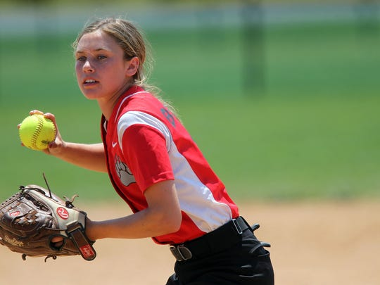 West Branch's Paige Miller throws to first base during the Bears' game against Union at the Hawkeye Softball Complex on Friday, June 24, 2016.