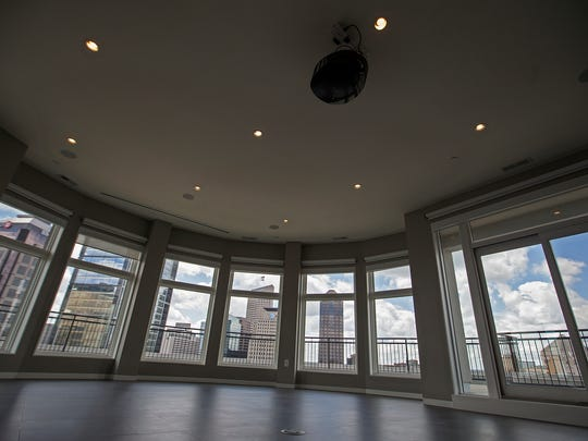 The view from the media room inside a 5,516 square-foot penthouse at Three Mass condos, seen on Tuesday, June 28, 2016. The condo at 333 Massachusetts Avenue, with a panoramic view of downtown, is listed for $1,999,999.