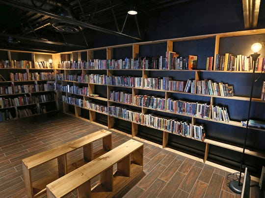 The used book loft at the new Books & Brews location in Zionsville, Ind., during its soft opening for mug club members, Wednesday, June 29, 2016. The taproom and used bookstore is open to the public July 1, 2016.