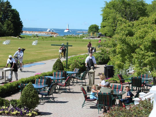 Busy day at Mission Point Resort on Mackinac Island.