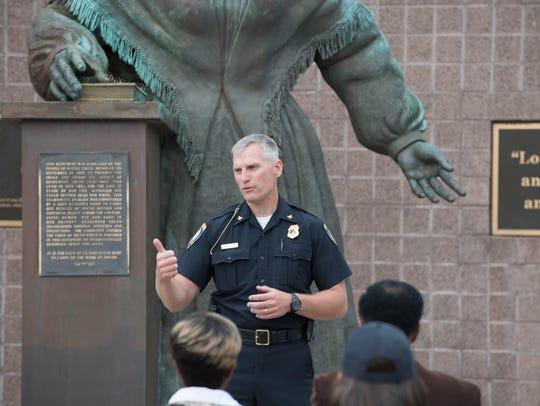 Battle Creek Police Chief Jim Blocker speaks during