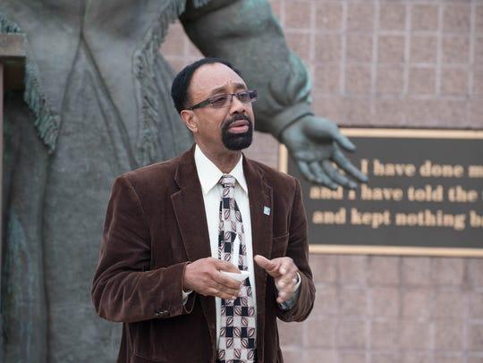 Battle Creek NAACP President Carey J Whitfield speaks