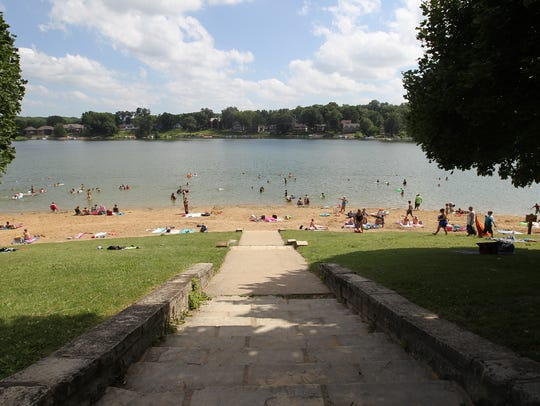 Lake Macbride beach is pictured on Monday, July 11,