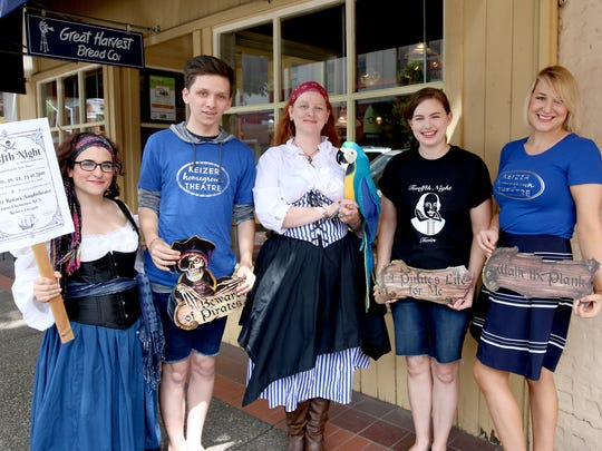 "From left, Megan Cox, Tyler Fredrickson, Rebekah Nielson, Amanda Watson and Kristin Sprauer show off props for this week's upcoming performance of ""Twelfth Night"" by the Keizer Homegrown Theatre group."