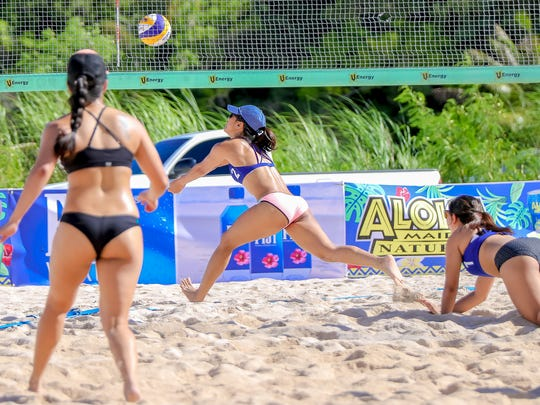 Ella De Jesus hustles to keep the ball alive at the Tasin Haikyu Beach Volleyball Tournament at the Beach Bar in this file photo.