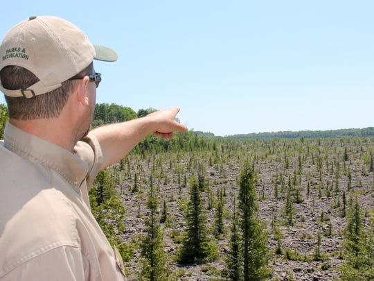 DNR Unit Supervisor Blake Gingrich points to the valley of rocks, a former quarry, at Rockport State Recreation Area in Alpena, Michigan.