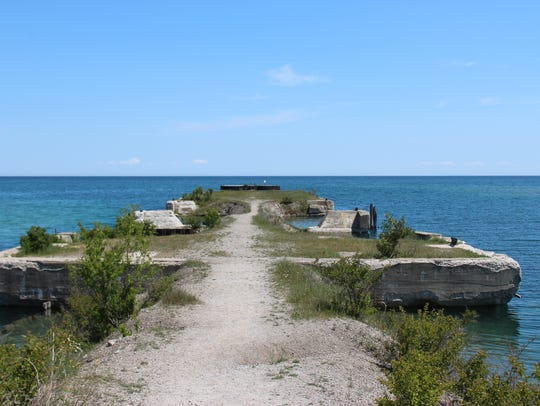 The abandoned pier in the deepwater harbor at Rockport