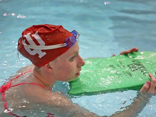 IU Olympic swimmer Lilly King practices at the Student Recreational Sports Center pool in Bloomington, Monday, July 11, 2016.