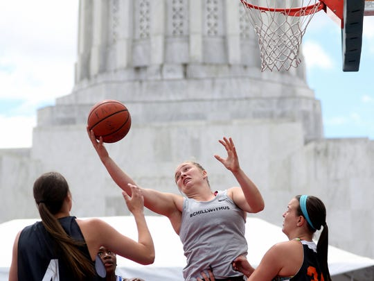 The women's open championship game for the Hoopla basketball tournament outside the Oregon State Capitol in Salem on Sunday, Aug. 7, 2016.
