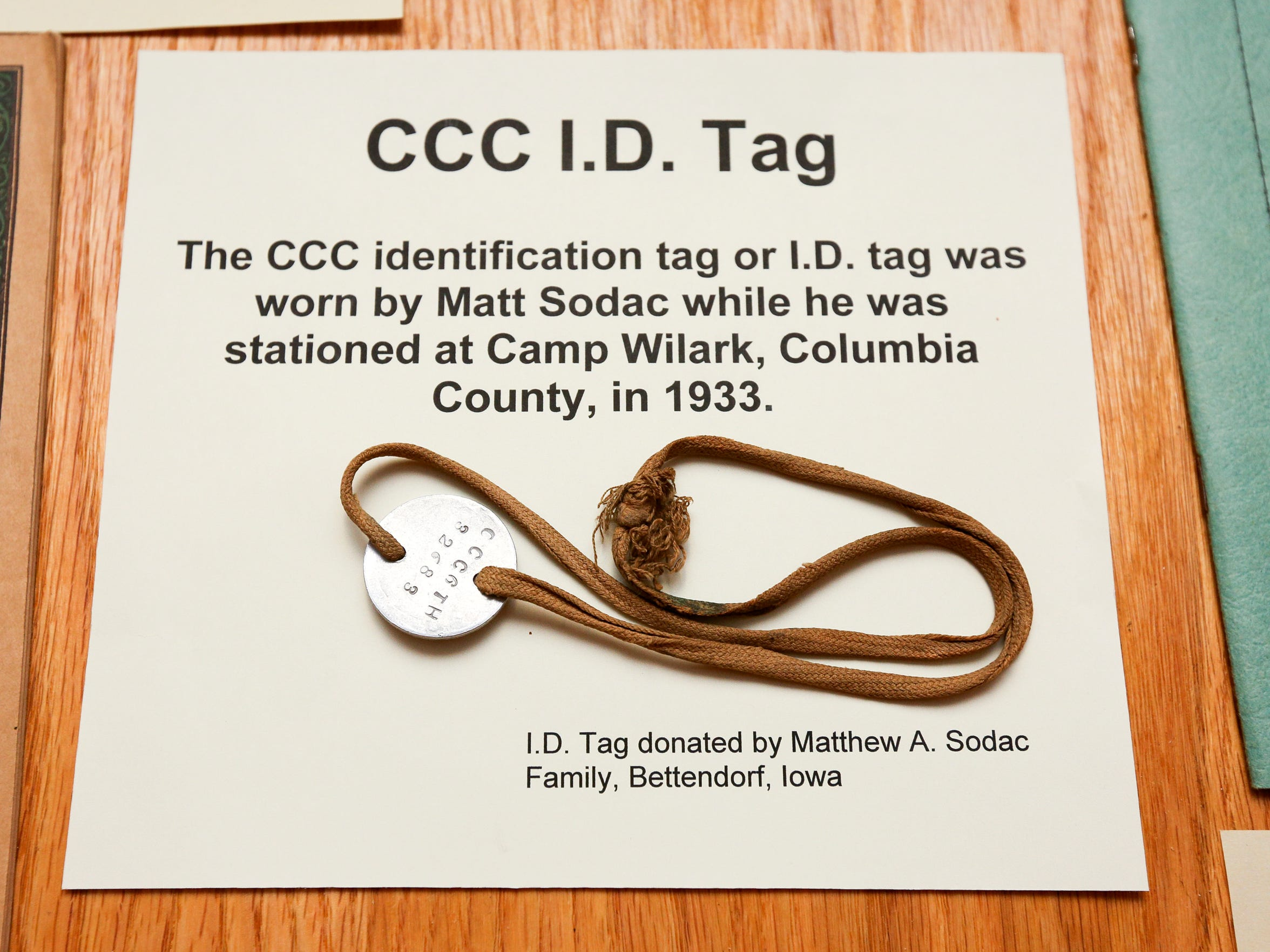 A Civilian Conservation Corps ID tag that belonged