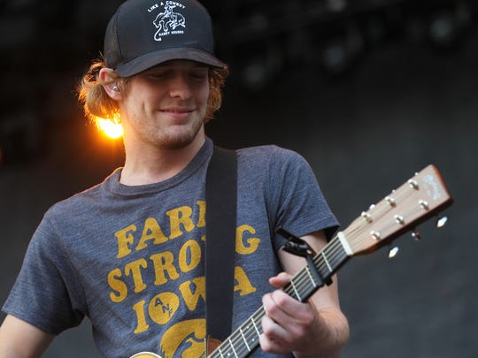 Tucker Beathard performs at the Back Porch Revival concert at Kinnick Stadium on Saturday, Aug. 27, 2016.