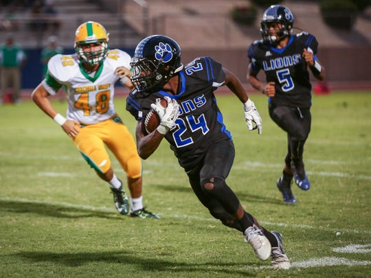 Cathedral City High School plays Coachella Valley High School in the first football game of the season on Friday, Aug.  26, 2016.