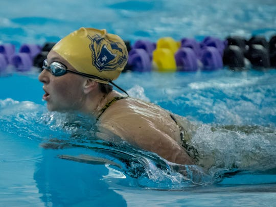 Battle Creek Central's Erica Lahusky competes in the 200 Yard Breaststroke Relay during the 2016 BC Spartan Relay Meet at Lakeview High School on Saturday.