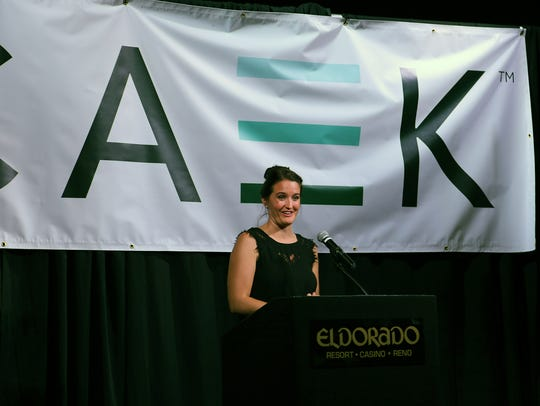 CAEK co-founder Katie Lay takes questions at an EDAWN